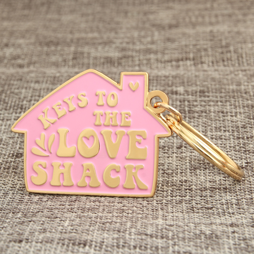 Pink House Personalized Keychains
