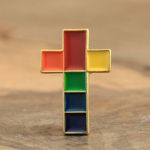 Colorful Cross Lapel Pins